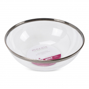 Plastic Salad Serving Bowl Silver Rim Large 26.5cm