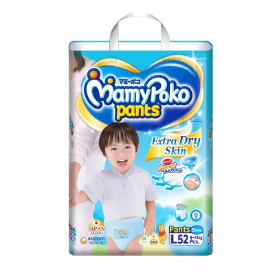 Extra Dry Pants Diapers For Boys 52s L 9-14kg