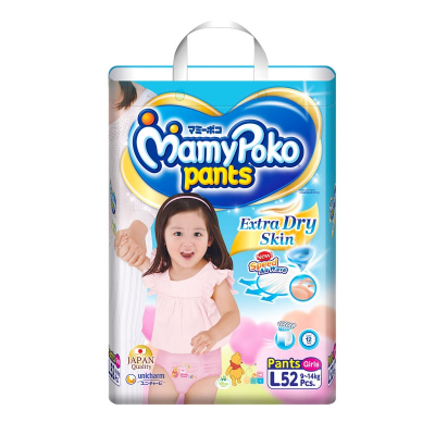 Extra Dry Pants Diapers (Girls) L 52s 9-14kg