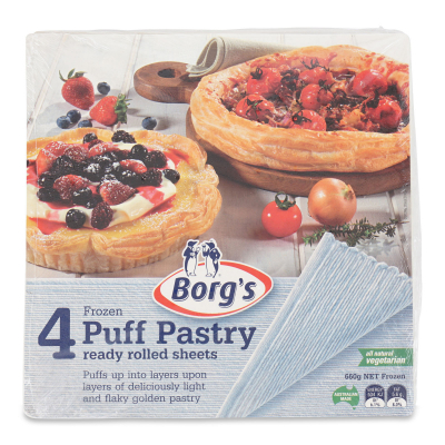 Frozen Puff Pastry Vegetarian Sheet 4s 600g