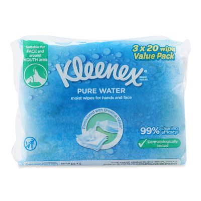 Pure Water Wet Wipes 3X20Sheets