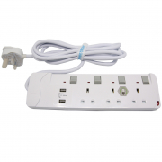 3 Way Power Socket Outlet 3Meters With Dual USB PS-434U